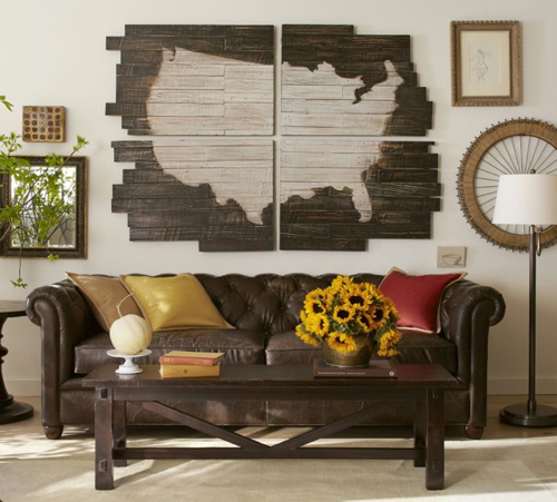 Pottery Barn Planked Quilt Art: Pottery Barn Planked USA Panel Art