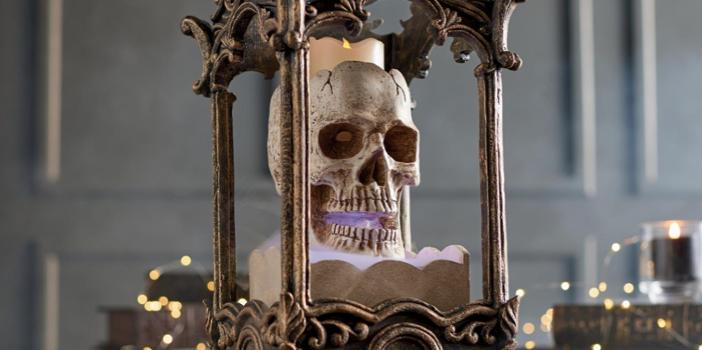 creepy halloween decor grandin road foggy skull lantern