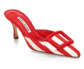 Shoe of the Day: Manolo Blahnik Maysalebi Striped Kitten Heel Mules