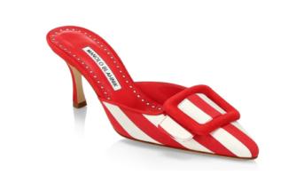 6fa8c17158b77 Shoe of the Day: Manolo Blahnik Maysalebi Striped Kitten Heel Mules