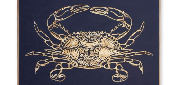 Pottery Barn Carved Wood Crab Wall Art