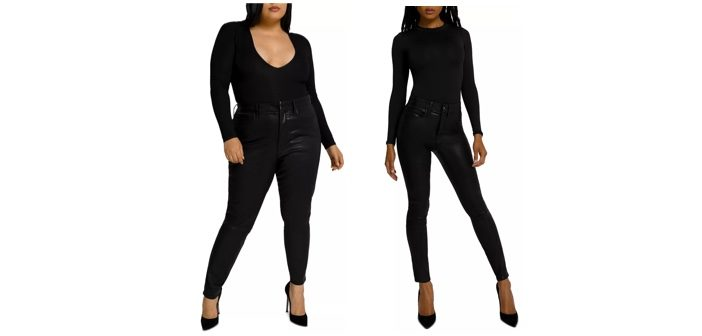 Good American Good Legs Coated Skinny Stretch Jeans in Black